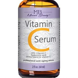 A bottle of Meera's Beauty Vitamin C serum to help brighten skin and make it healthy!